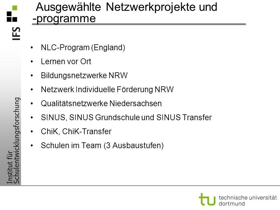 Institut für Schulentwicklungsforschung Ausgewählte Netzwerkprojekte und -programme NLC-Program (England) Lernen vor Ort Bildungsnetzwerke NRW Netzwer