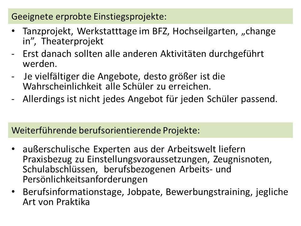 Tanzprojekt, Werkstatttage im BFZ, Hochseilgarten, change in, Theaterprojekt -Erst danach sollten alle anderen Aktivitäten durchgeführt werden.