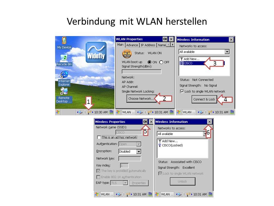 Verbindung mit WLAN herstellen 1 3 2 4 5 6