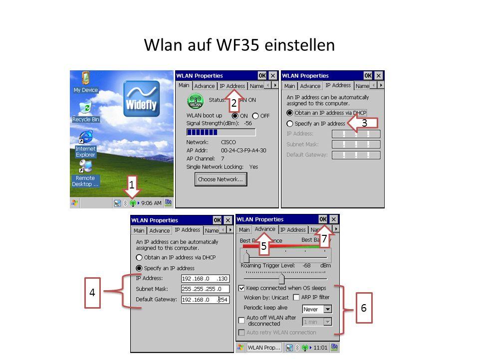 Wlan auf WF35 einstellen 1 2 3 4 5 6 7