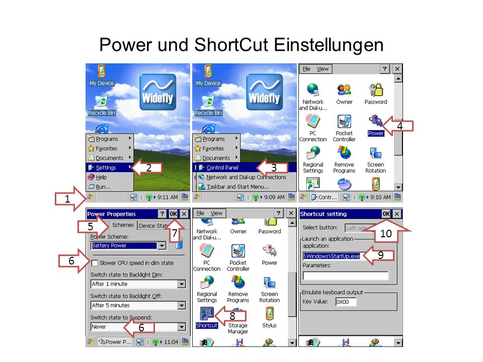 Power und ShortCut Einstellungen 1 23 4 5 6 8 9 7 10 6