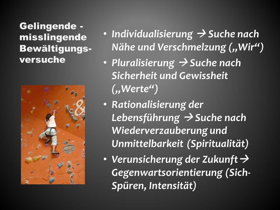 Individualisierung Suche nach Nähe und Verschmelzung (Wir) Pluralisierung Suche nach Sicherheit und Gewissheit (Werte) Rationalisierung der Lebensführung Suche nach Wiederverzauberung und Unmittelbarkeit (Spiritualität) Verunsicherung der Zukunft Gegenwartsorientierung (Sich- Spüren, Intensität) Gelingende - misslingende Bewältigungs- versuche