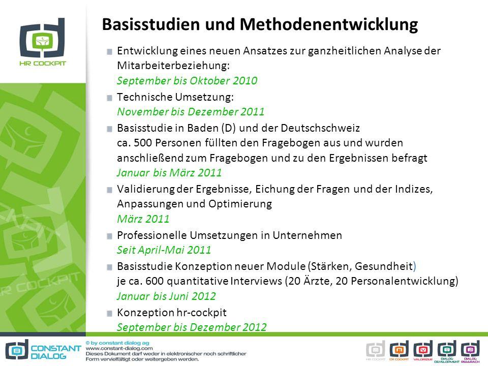 Basisstudien und Methodenentwicklung Entwicklung eines neuen Ansatzes zur ganzheitlichen Analyse der Mitarbeiterbeziehung: September bis Oktober 2010