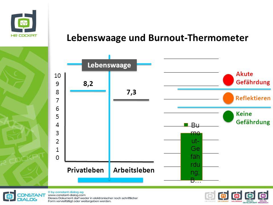 Lebenswaage und Burnout-Thermometer 10 9 8 7 6 5 4 3 2 1 0 Privatleben Arbeitsleben 8,2 7,3 Lebenswaage Akute Gefährdung Keine Gefährdung Reflektieren