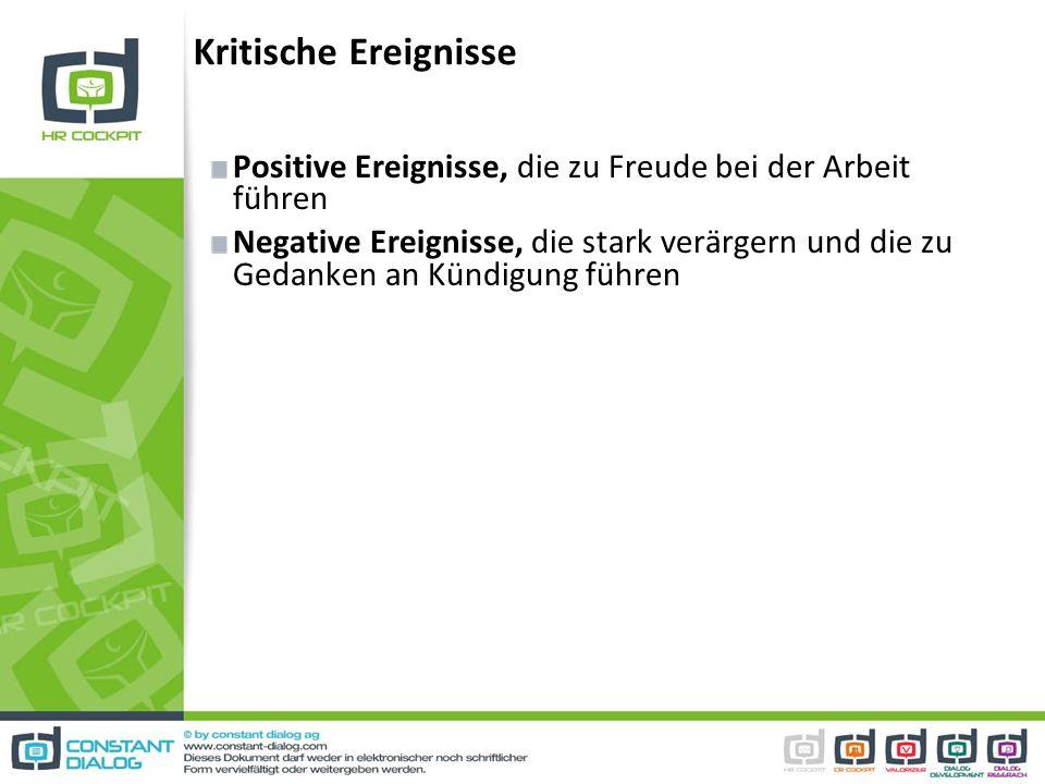 Kritische Ereignisse Positive Ereignisse, die zu Freude bei der Arbeit führen Negative Ereignisse, die stark verärgern und die zu Gedanken an Kündigun