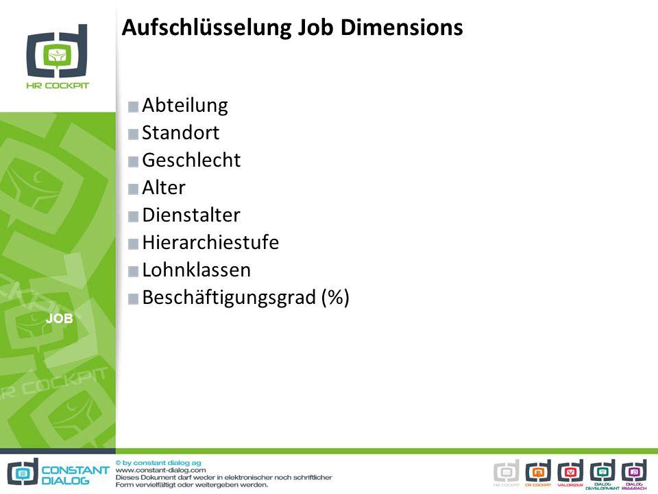 Aufschlüsselung Job Dimensions Abteilung Standort Geschlecht Alter Dienstalter Hierarchiestufe Lohnklassen Beschäftigungsgrad (%) JOB