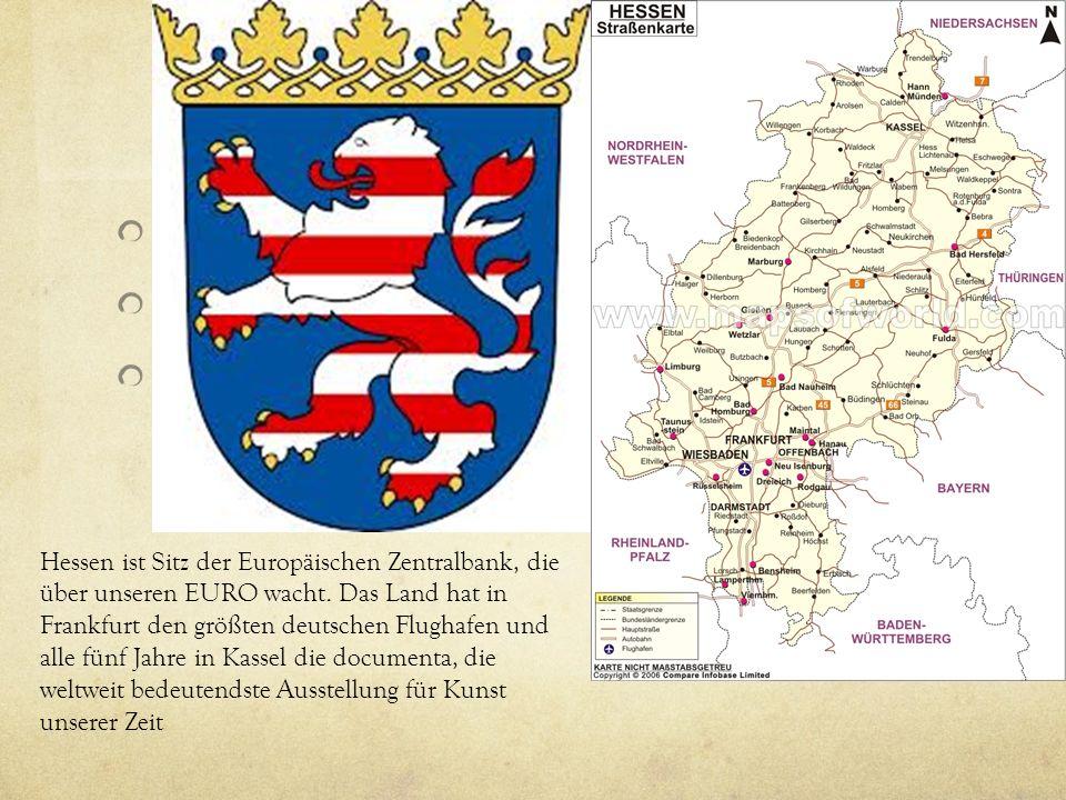 Bundesland Map Wappe (shield you received) Quote from your cutout auf deutsch/English Hessen ist Sitz der Europäischen Zentralbank, die über unseren EURO wacht.
