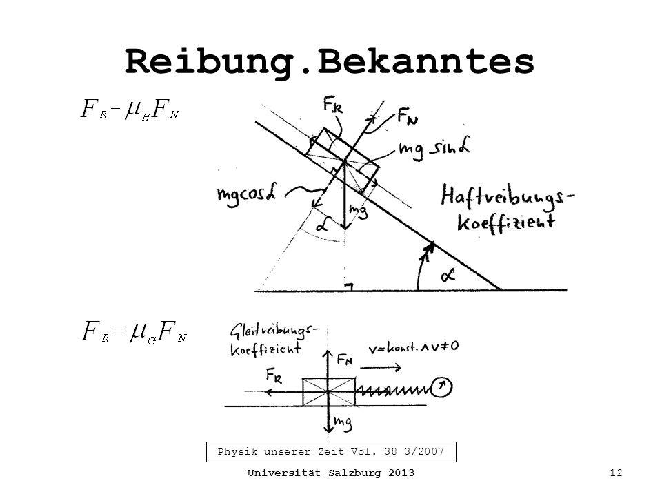 Reibung.Bekanntes Universität Salzburg 201312 Physik unserer Zeit Vol. 38 3/2007