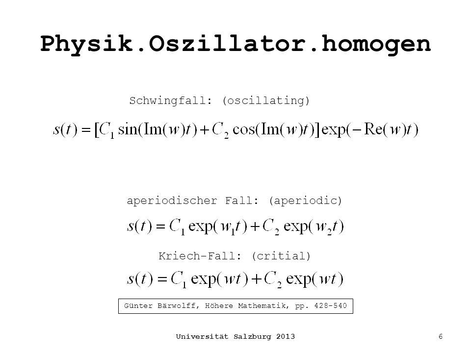 Physik.Oszillator.homogen Universität Salzburg 20136 Schwingfall: (oscillating) aperiodischer Fall: (aperiodic) Kriech-Fall: (critial) Günter Bärwolff