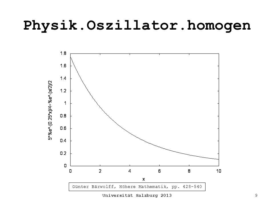 Physik.Oszillator.homogen Universität Salzburg 20139 Günter Bärwolff, Höhere Mathematik, pp. 428-540