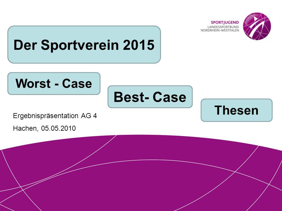 Der Sportverein 2015 Worst - Case Best- Case Thesen Ergebnispräsentation AG 4 Hachen, 05.05.2010