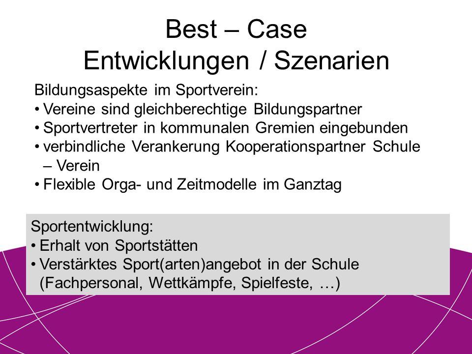 Best – Case Entwicklungen / Szenarien Bildungsaspekte im Sportverein: Vereine sind gleichberechtige Bildungspartner Sportvertreter in kommunalen Gremi