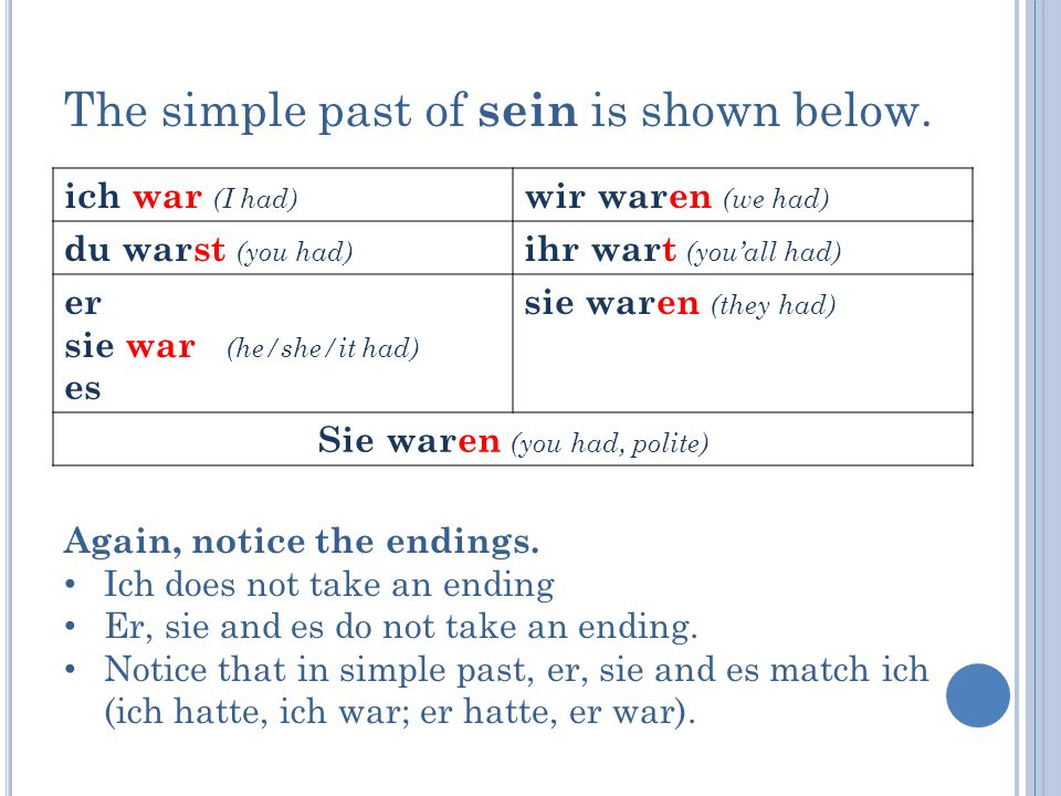 The simple past of sein is shown below.
