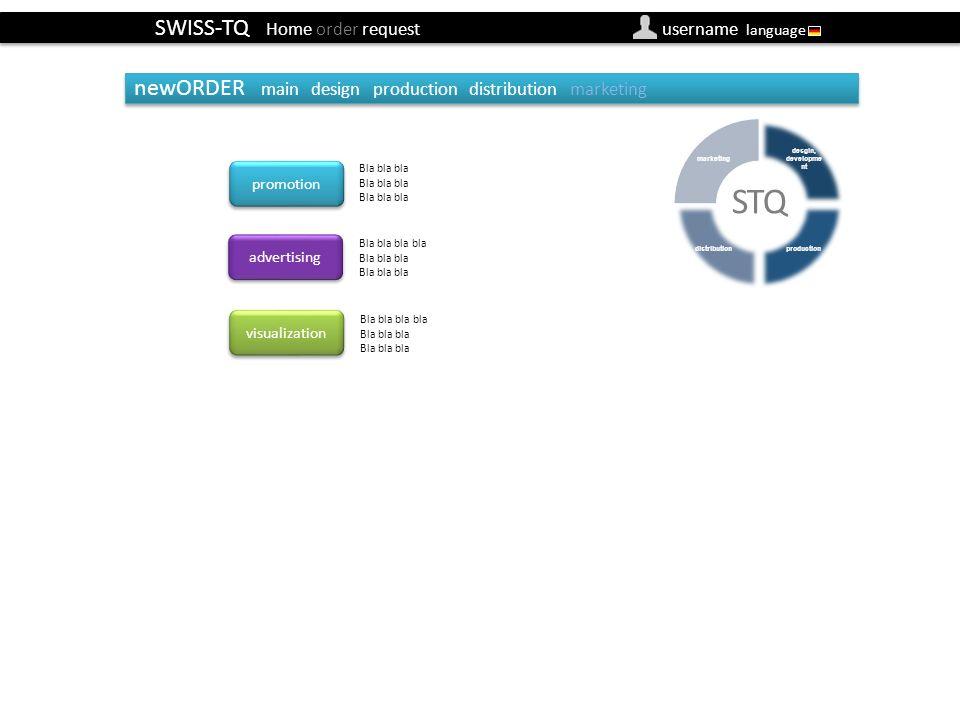SWISS-TQ Home order request username language newOrder marketin (Besteller) promotion advertising Bla bla bla Bla bla bla bla Bla bla bla newORDER mai