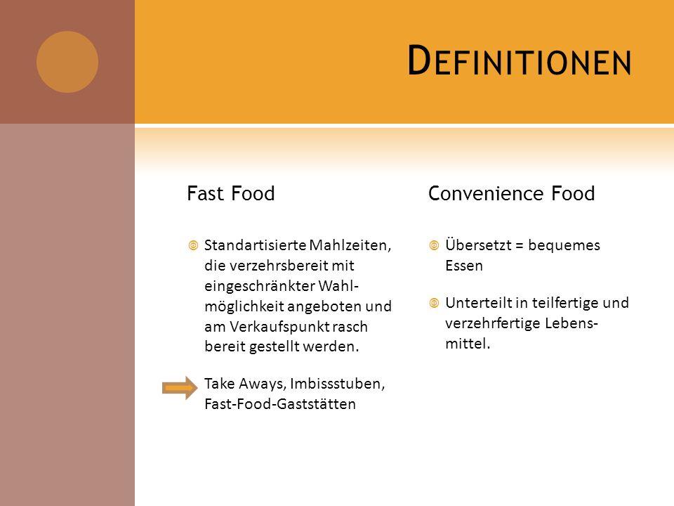 D EFINITIONEN Fast Food Standartisierte Mahlzeiten, die verzehrsbereit mit eingeschränkter Wahl- möglichkeit angeboten und am Verkaufspunkt rasch bere