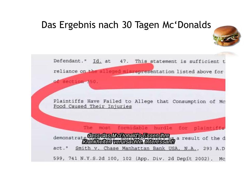 Das Ergebnis nach 30 Tagen McDonalds
