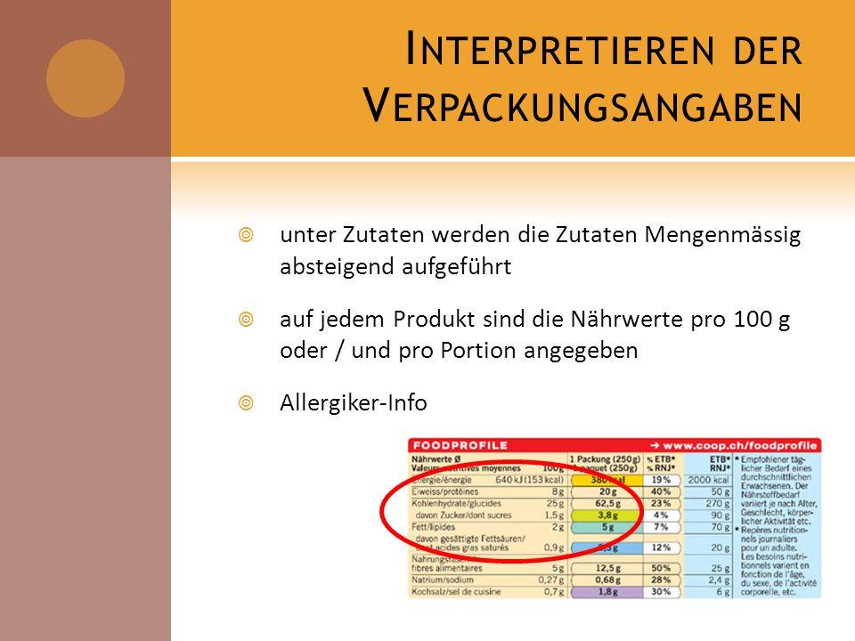 I NTERPRETIEREN DER V ERPACKUNGSANGABEN unter Zutaten werden die Zutaten Mengenmässig absteigend aufgeführt auf jedem Produkt sind die Nährwerte pro 1
