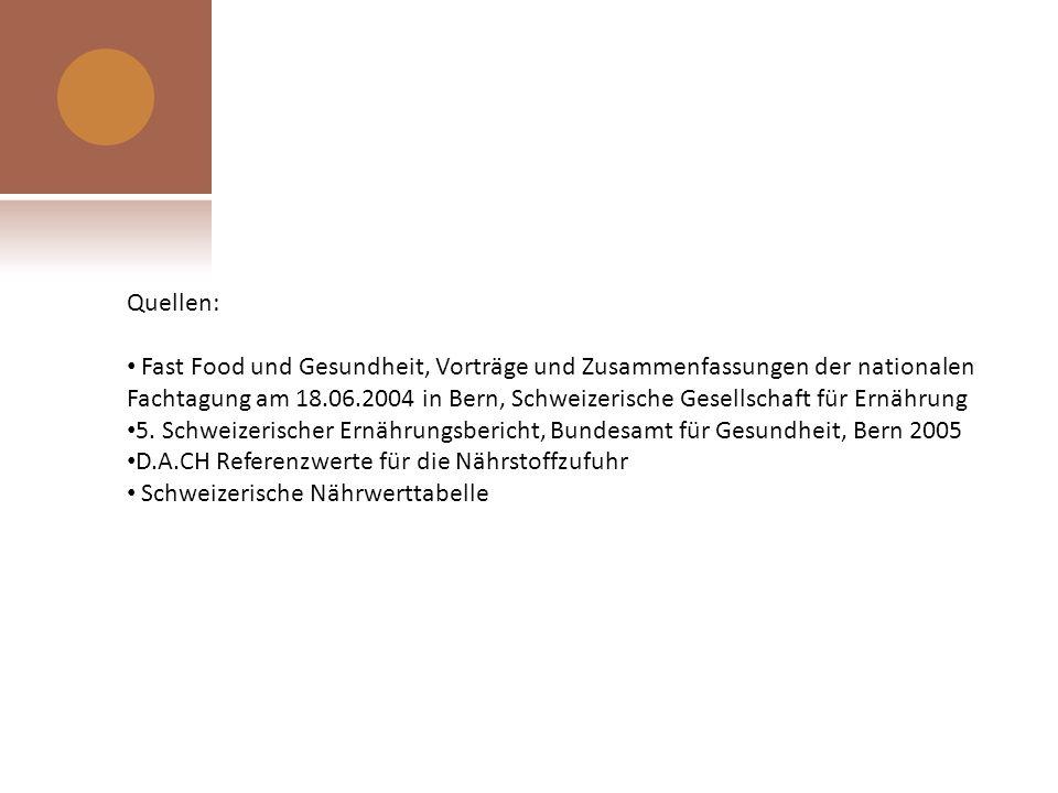 Quellen: Fast Food und Gesundheit, Vorträge und Zusammenfassungen der nationalen Fachtagung am 18.06.2004 in Bern, Schweizerische Gesellschaft für Ern