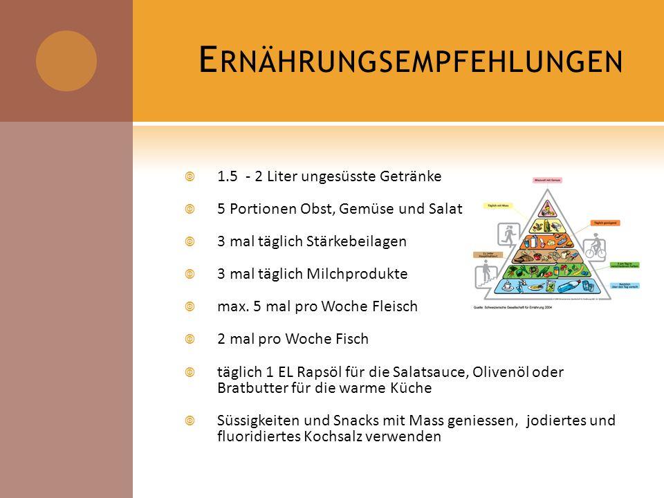 In der Schweiz konsumieren fast ein fünftel der 15 – 24-jährigen mehr als zweimal pro Woche Fast Food Nach der Schweizerischen Gesundheitsbefragung von 2002 sind 37 % der erwachsenen Bevölkerung übergewichtig (BMI 25 – 29.9) oder stark übergewichtig (= fettleibig oder Adipös, BMI > 30) Folgekrankheiten des Übergewichts kosten uns jährlich 2.7 Milliarden Franken Weltweit leidet 1000000000 Menschen an chronischer Unterernährung.