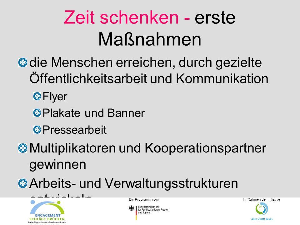 Zeit schenken - erste Maßnahmen die Menschen erreichen, durch gezielte Öffentlichkeitsarbeit und Kommunikation Flyer Plakate und Banner Pressearbeit M