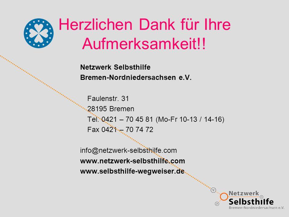 Herzlichen Dank für Ihre Aufmerksamkeit!! Netzwerk Selbsthilfe Bremen-Nordniedersachsen e.V. Faulenstr. 31 28195 Bremen Tel. 0421 – 70 45 81 (Mo-Fr 10