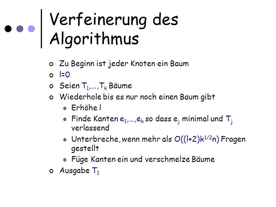 Verfeinerung des Algorithmus Zu Beginn ist jeder Knoten ein Baum l=0 Seien T 1,…,T k Bäume Wiederhole bis es nur noch einen Baum gibt Erhöhe l Finde Kanten e 1,…,e k so dass e j minimal und T j verlassend Unterbreche, wenn mehr als O((l+2)k 1/2 n) Fragen gestellt Füge Kanten ein und verschmelze Bäume Ausgabe T 1