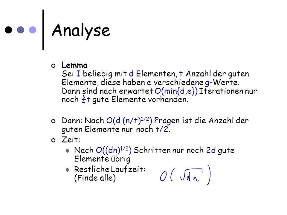 Analyse Lemma Sei I beliebig mit d Elementen, t Anzahl der guten Elemente, diese haben e verschiedene g-Werte.