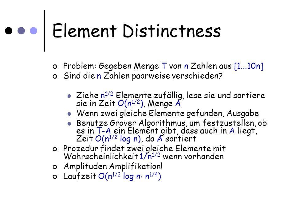 Element Distinctness Wir haben Algorithmus mit O(n 3/4 log n) Zeit gesehen (und Speicherplatz O(n 1/2 log n)) Tatsächlich können wir mit weniger Speicher, aber mehr Zeit auskommen