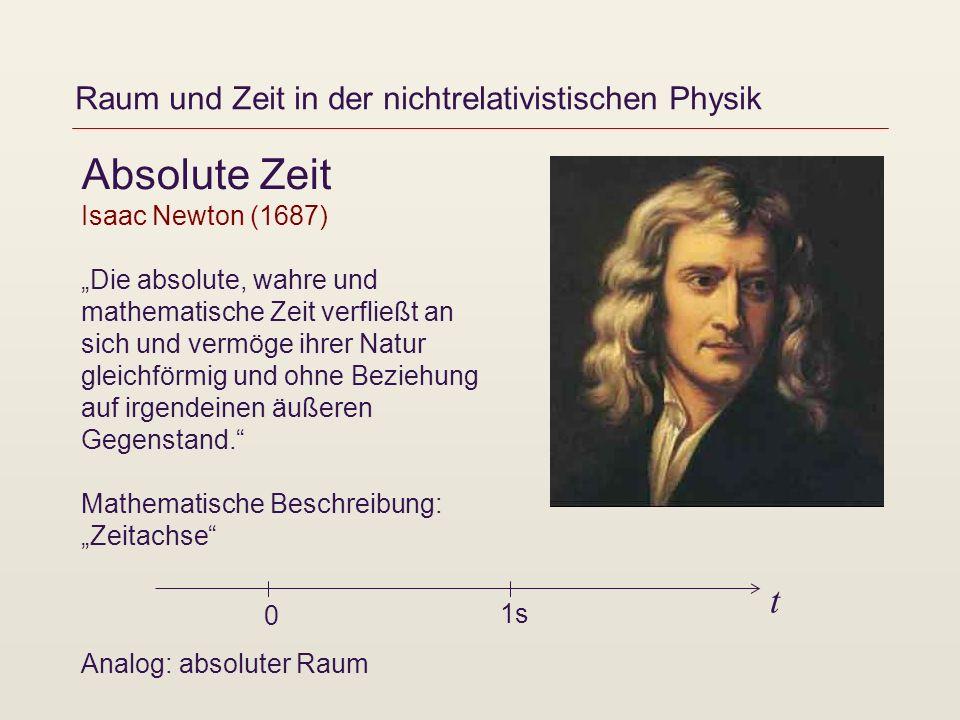 Raum und Zeit in der nichtrelativistischen Physik Absolute Zeit Isaac Newton (1687) Die absolute, wahre und mathematische Zeit verfließt an sich und v