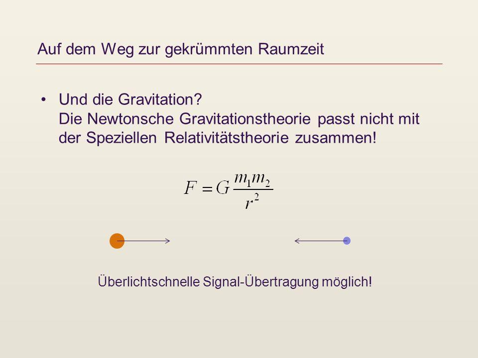 Auf dem Weg zur gekrümmten Raumzeit 1908 Albert Einstein entwickelt das Äquivalenzprinzip http://homepage.univie.ac.at/franz.embacher/Rel/Einstein/artAequivalenzprinzip/ http://homepage.univie.ac.at/franz.embacher/Rel/Einstein/artAequivalenzprinzip/ Krümmung und Raumzeit http://homepage.univie.ac.at/franz.embacher/Rel/EinsteinRechnet/Kruemmung.html http://homepage.univie.ac.at/franz.embacher/Rel/EinsteinRechnet/Kruemmung.html 1908 – 1915 Einstein arbeitet am Entwurf einer Gravitationstheorie Feldgleichungen (Materie krümmt die Raumzeit), Allgemeine Relativitätstheorie