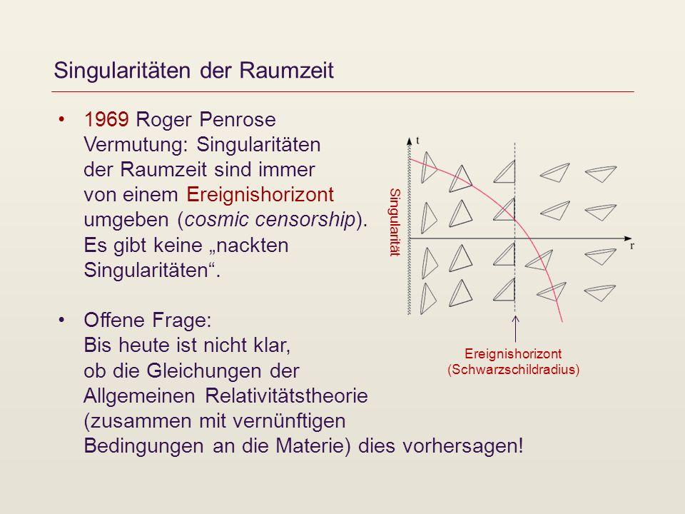Singularitäten der Raumzeit 1969 Roger Penrose Vermutung: Singularitäten der Raumzeit sind immer von einem Ereignishorizont umgeben (cosmic censorship