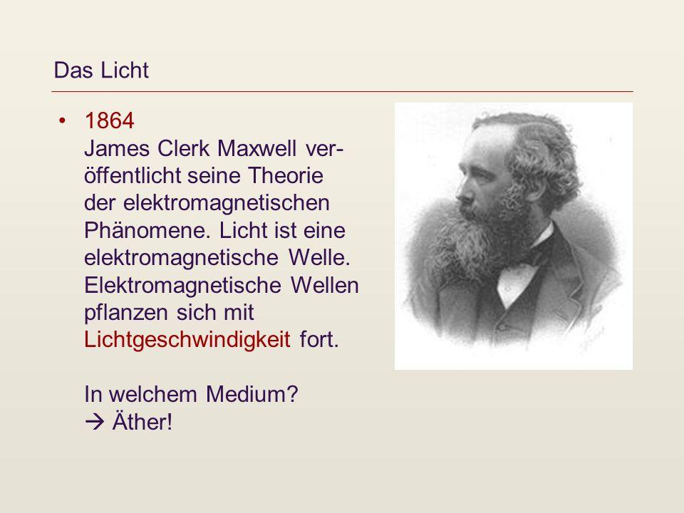 Das Licht 1864 James Clerk Maxwell ver- öffentlicht seine Theorie der elektromagnetischen Phänomene. Licht ist eine elektromagnetische Welle. Elektrom