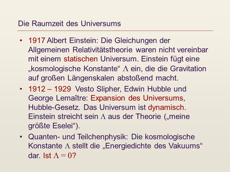 Die Raumzeit des Universums 1917 Albert Einstein: Die Gleichungen der Allgemeinen Relativitätstheorie waren nicht vereinbar mit einem statischen Unive