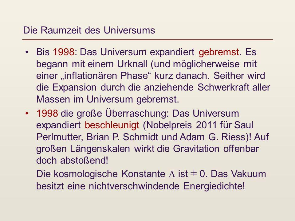 Die Raumzeit des Universums Bis 1998: Das Universum expandiert gebremst. Es begann mit einem Urknall (und möglicherweise mit einer inflationären Phase