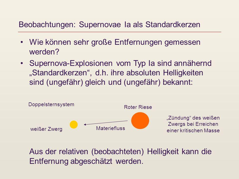 Beobachtungen: Supernovae Ia als Standardkerzen Wie können sehr große Entfernungen gemessen werden? Supernova-Explosionen vom Typ Ia sind annähernd St