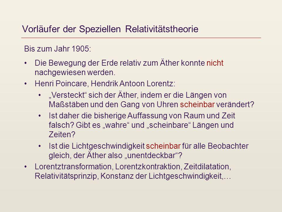 Vorläufer der Speziellen Relativitätstheorie Bis zum Jahr 1905: Die Bewegung der Erde relativ zum Äther konnte nicht nachgewiesen werden. Henri Poinca