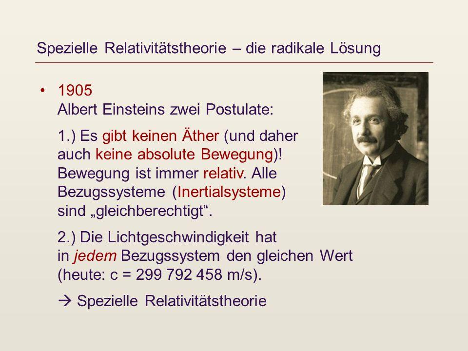 Spezielle Relativitätstheorie – die radikale Lösung 1905 Albert Einsteins zwei Postulate: 1.) Es gibt keinen Äther (und daher auch keine absolute Bewe