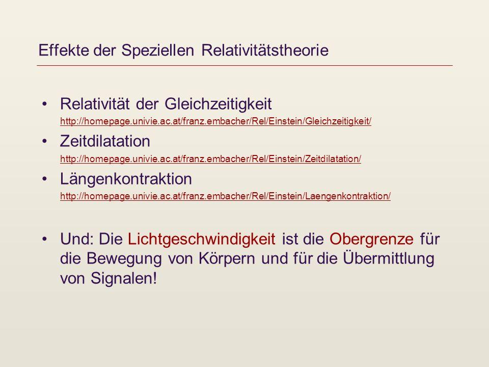 Effekte der Speziellen Relativitätstheorie Relativität der Gleichzeitigkeit http://homepage.univie.ac.at/franz.embacher/Rel/Einstein/Gleichzeitigkeit/