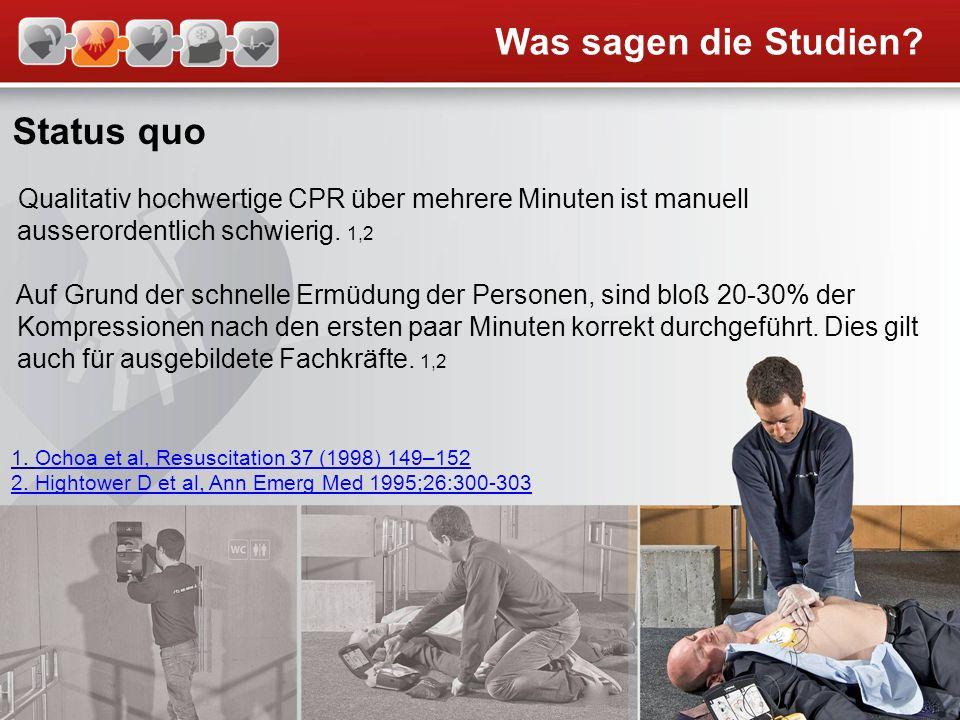 Status quo Qualitativ hochwertige CPR über mehrere Minuten ist manuell ausserordentlich schwierig. 1,2 Auf Grund der schnelle Ermüdung der Personen, s