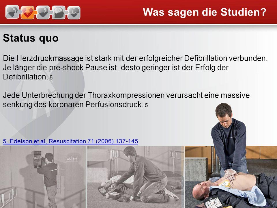 Status quo Die Herzdruckmassage ist stark mit der erfolgreicher Defibrillation verbunden. Je länger die pre-shock Pause ist, desto geringer ist der Er