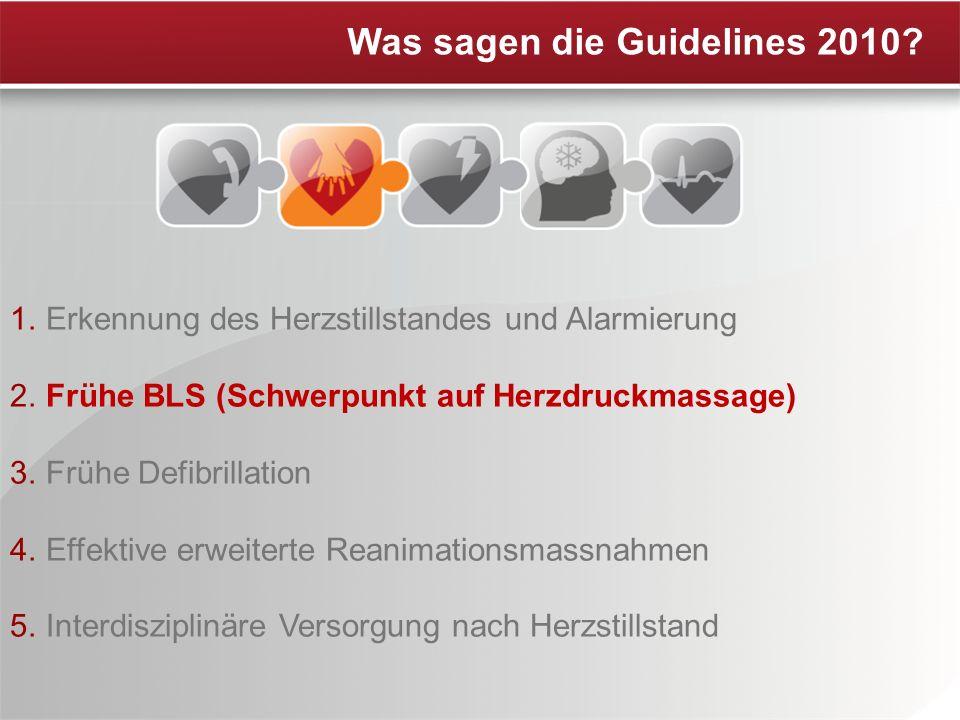 1. Erkennung des Herzstillstandes und Alarmierung 2. Frühe BLS (Schwerpunkt auf Herzdruckmassage) 3. Frühe Defibrillation 4. Effektive erweiterte Rean