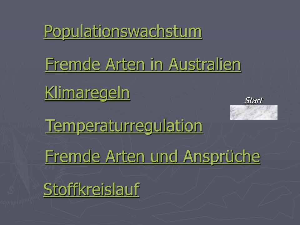 Klimaregeln Temperaturregulation Fremde Arten in Australien Fremde Arten in Australien Populationswachstum Fremde Arten und Ansprüche Fremde Arten und