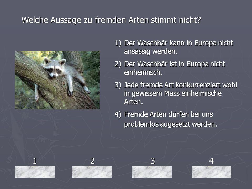 1234 Welche Aussage zu fremden Arten stimmt nicht? 1)Der Waschbär kann in Europa nicht ansässig werden. 2)Der Waschbär ist in Europa nicht einheimisch