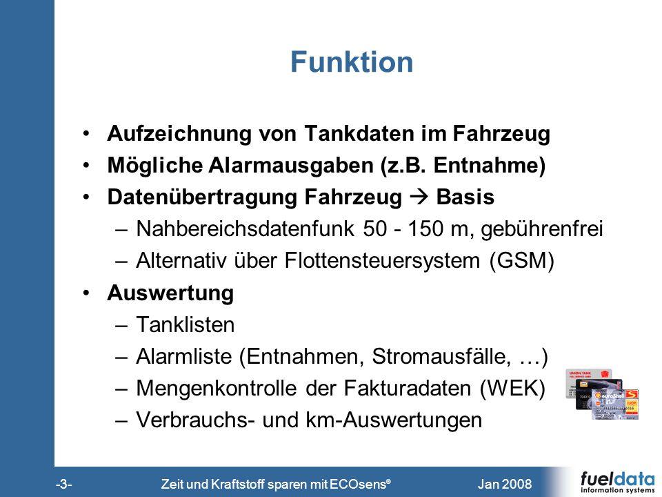 Jan 2008-3-Zeit und Kraftstoff sparen mit ECOsens ® Funktion Aufzeichnung von Tankdaten im Fahrzeug Mögliche Alarmausgaben (z.B. Entnahme) Datenübertr