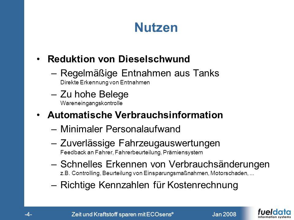 Jan 2008-5-Zeit und Kraftstoff sparen mit ECOsens ® Rentabilität Kraftstoffkosten = 47.600 EUR/a per Fahrzeug Basis: 140.000 km/a * 34 L/100km * 1,-- EUR/L Nutzen = Sparen von (2 – 6) % * Kraftstoffkosten ohne Berücksichtigung anderer Einsparungen 2% bedeutet z.B.