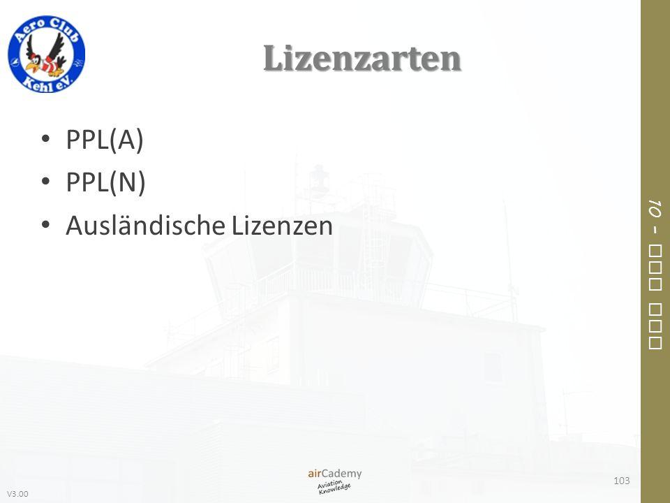 V3.00 10 – Air Law Lizenzarten PPL(A) PPL(N) Ausländische Lizenzen 103