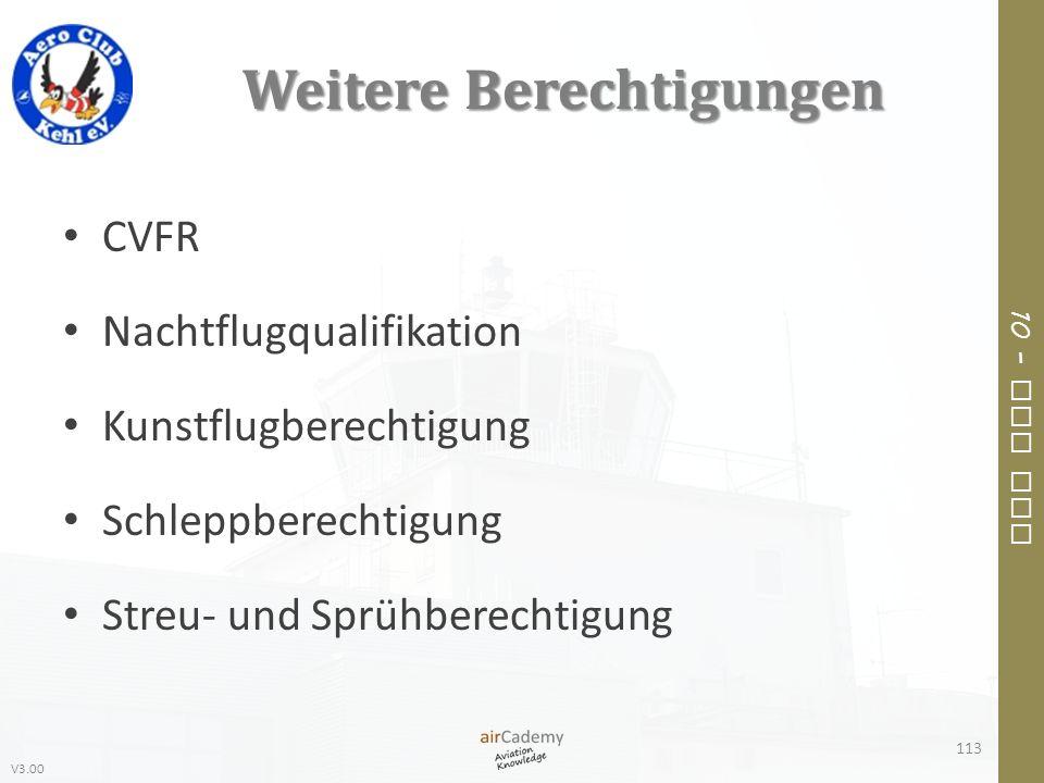 V3.00 10 – Air Law Weitere Berechtigungen CVFR Nachtflugqualifikation Kunstflugberechtigung Schleppberechtigung Streu- und Sprühberechtigung 113