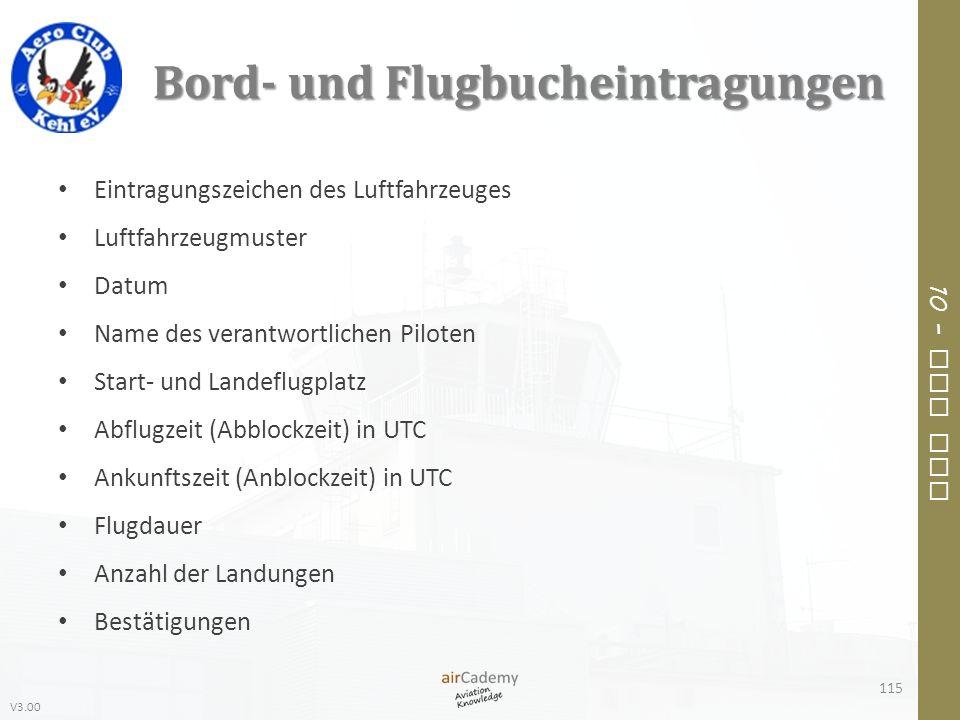 V3.00 10 – Air Law Bord- und Flugbucheintragungen Eintragungszeichen des Luftfahrzeuges Luftfahrzeugmuster Datum Name des verantwortlichen Piloten Sta