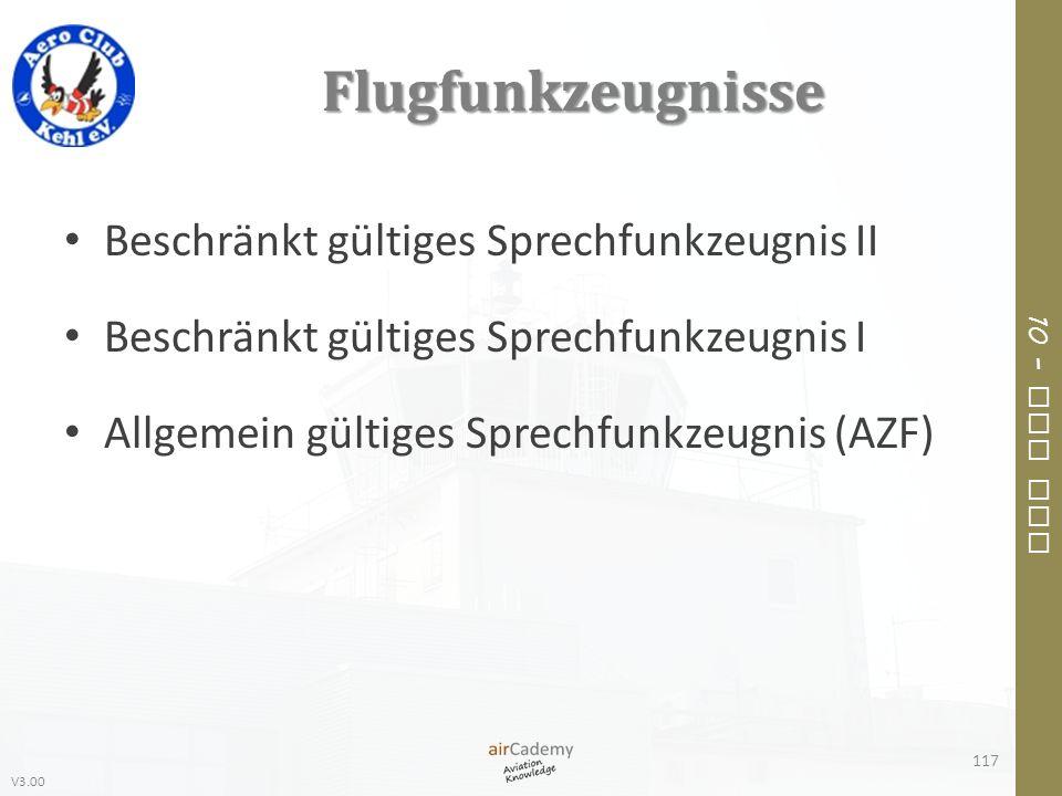 V3.00 10 – Air Law Flugfunkzeugnisse Beschränkt gültiges Sprechfunkzeugnis II Beschränkt gültiges Sprechfunkzeugnis I Allgemein gültiges Sprechfunkzeu