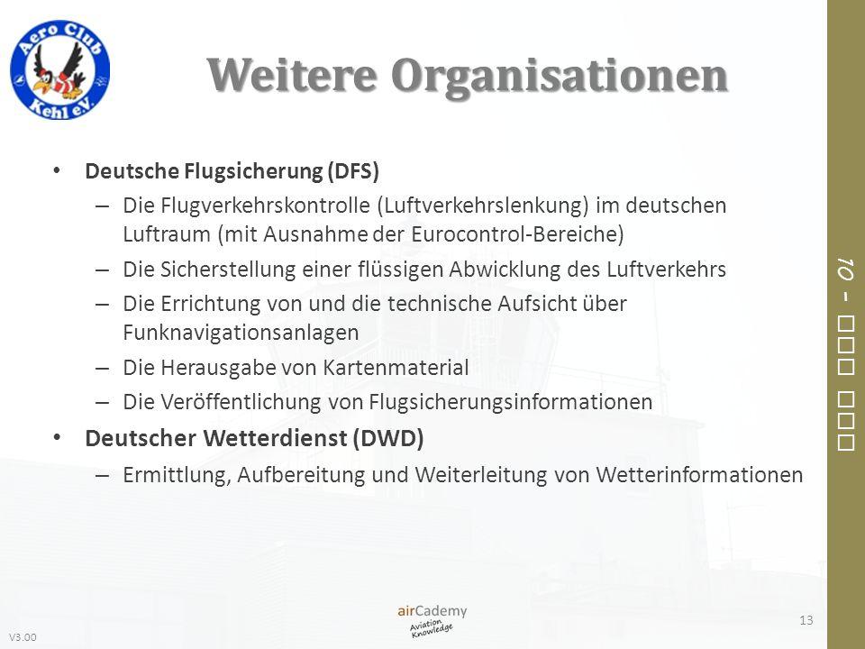 V3.00 10 – Air Law Weitere Organisationen Deutsche Flugsicherung (DFS) – Die Flugverkehrskontrolle (Luftverkehrslenkung) im deutschen Luftraum (mit Au